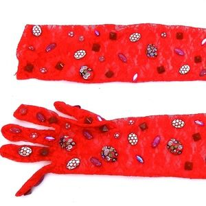 MADRAS RED LACE OPERA GLOVES